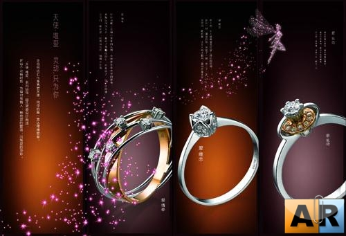 Jewellery diamond ring ads PSD