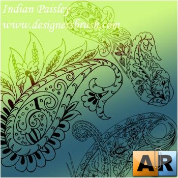 Indian paisley with small paisley elements brush