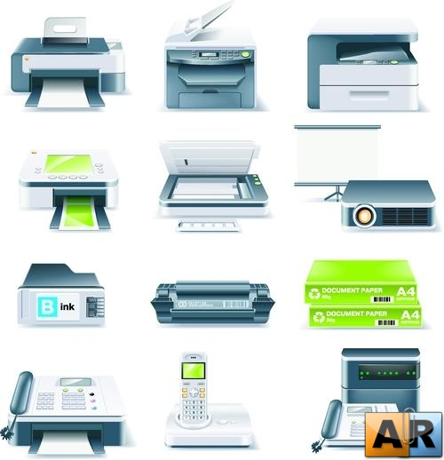 Vector Detailed Computer Parts Icon Set. Часть 4