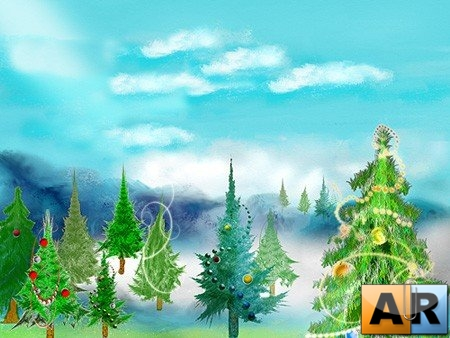 Кисти для Photoshop - Christmas Trees Brushes