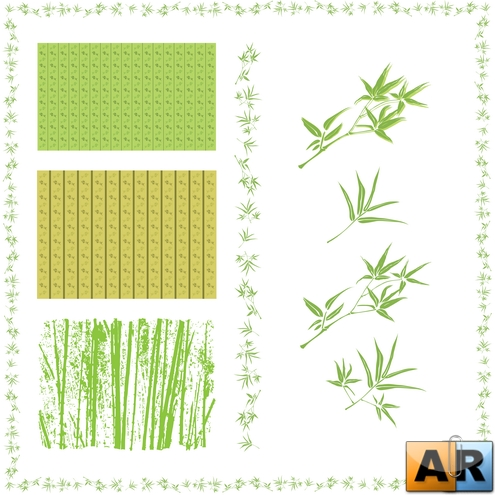 Bamboo leaves wallpaper and grunge style vector
