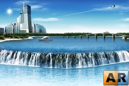 City Waterfall - PSD Template