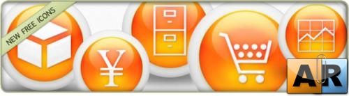 3d Glossy Orange Orbs Icons Business