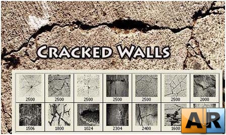 Кисти - Cracked Walls Photoshop Brushes
