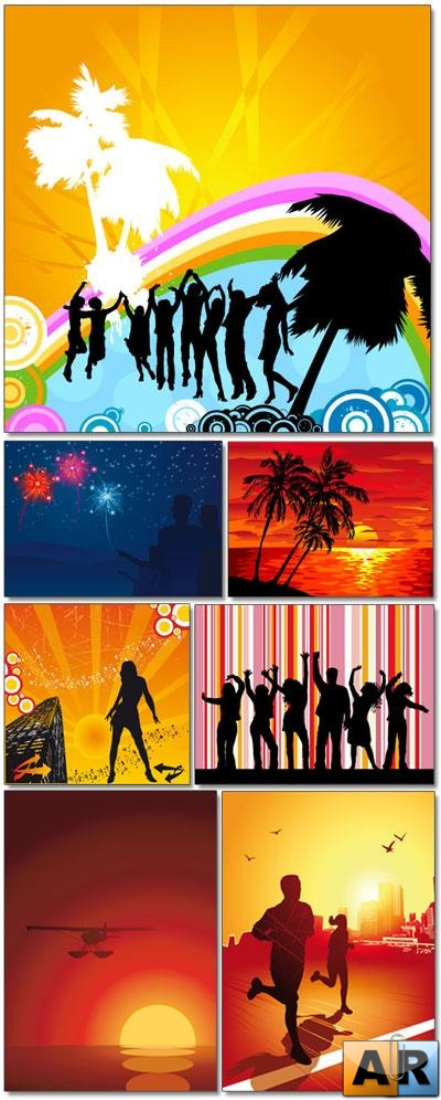 Vector People with Background 2