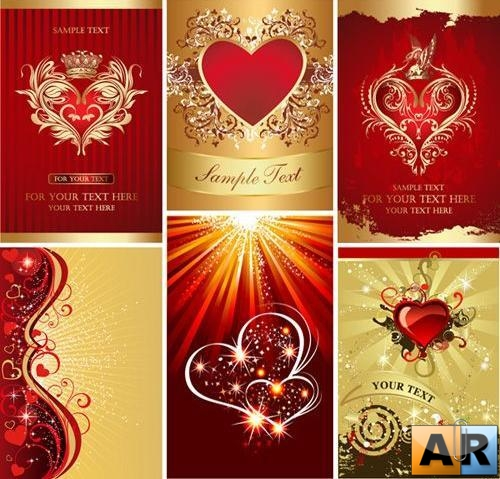 Golden Heart Vector Backgrounds