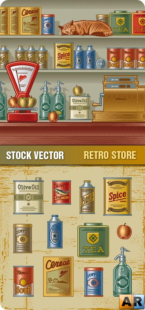 Stock Vector - Retro Store