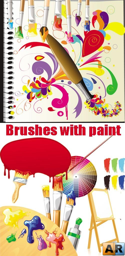 Brushes with paint