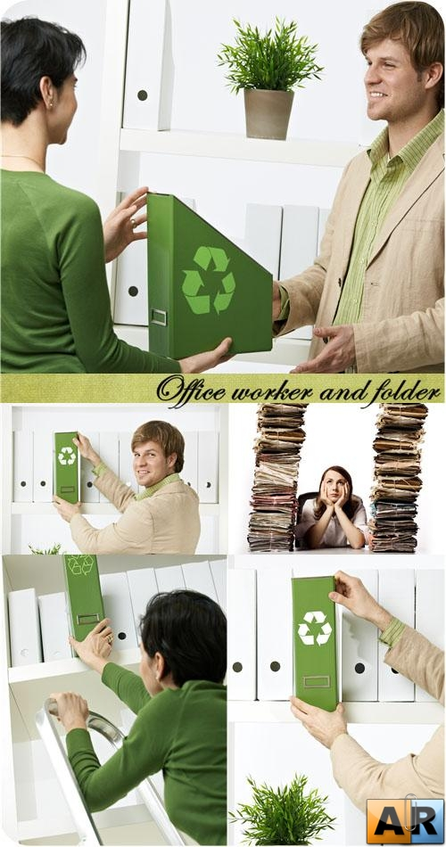 Stock Photo: Office worker and folder