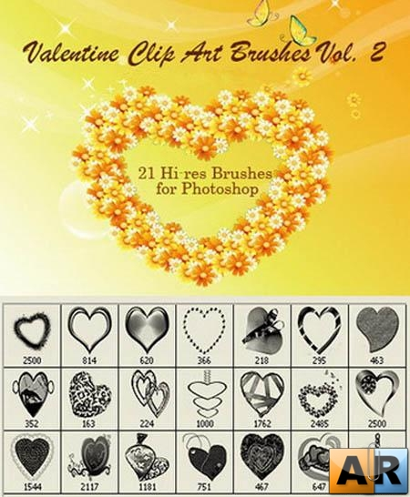 Valentine Clip Art Volume II - 21 Photoshop Heart Brushes