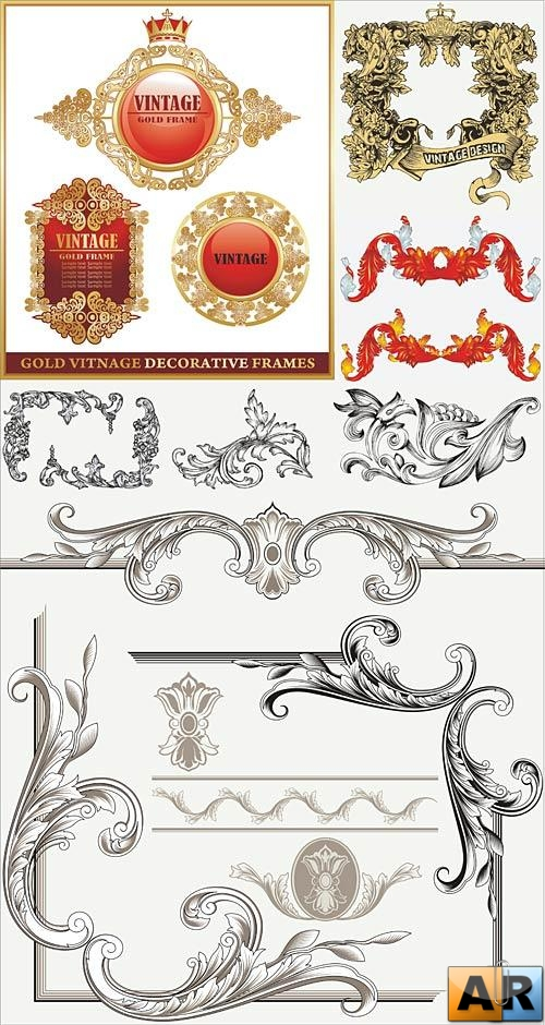 Vintage decorative vectors