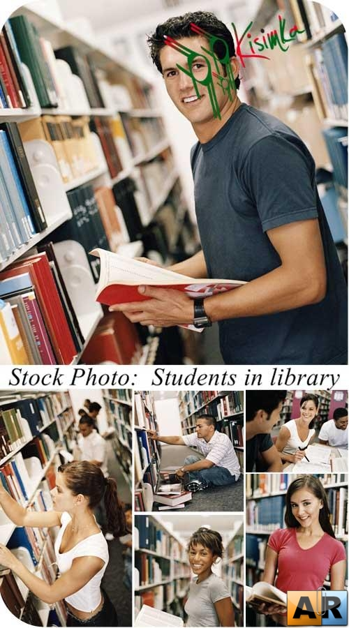 Stock Photo:  Students in library