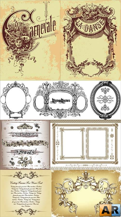 Vintage decorative vectors - 2
