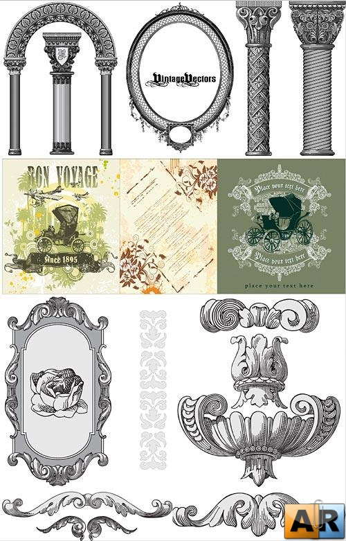 Vintage decorative vectors 4