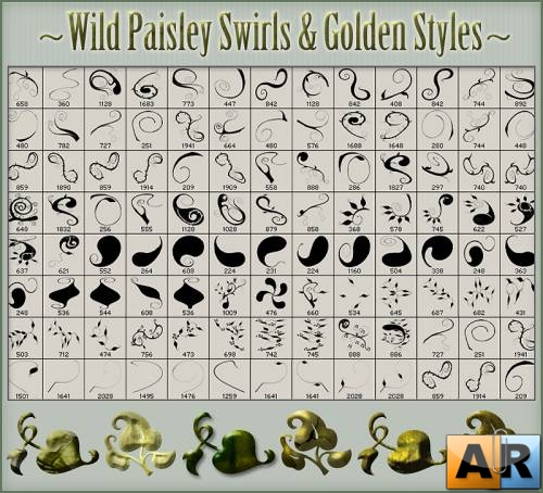 Кисти и стили Photoshop - Wild Paisley-Golden Styles