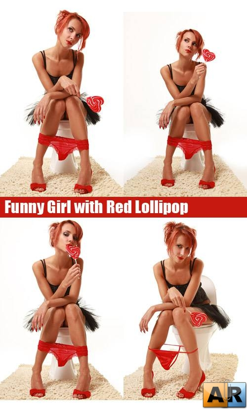 Stock Photos - Funny Girl with Red Lollipop