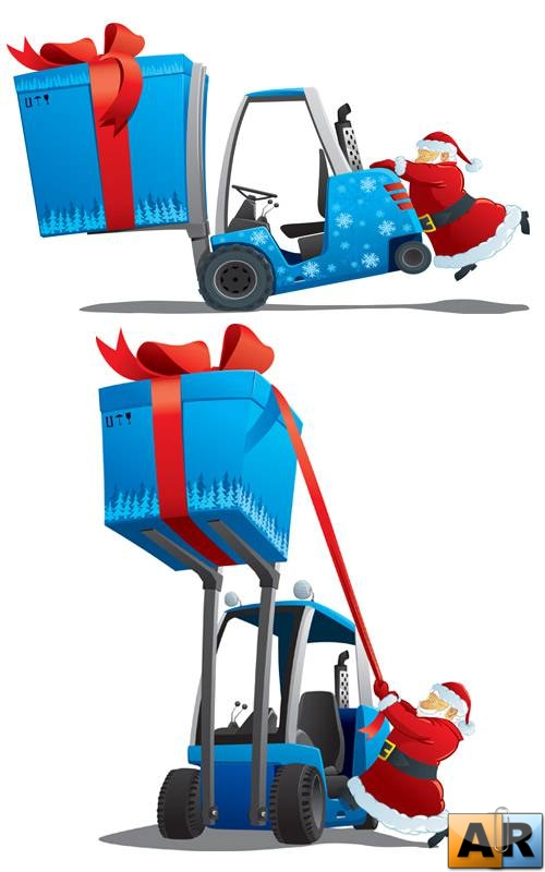 Vector - Transportation Santas