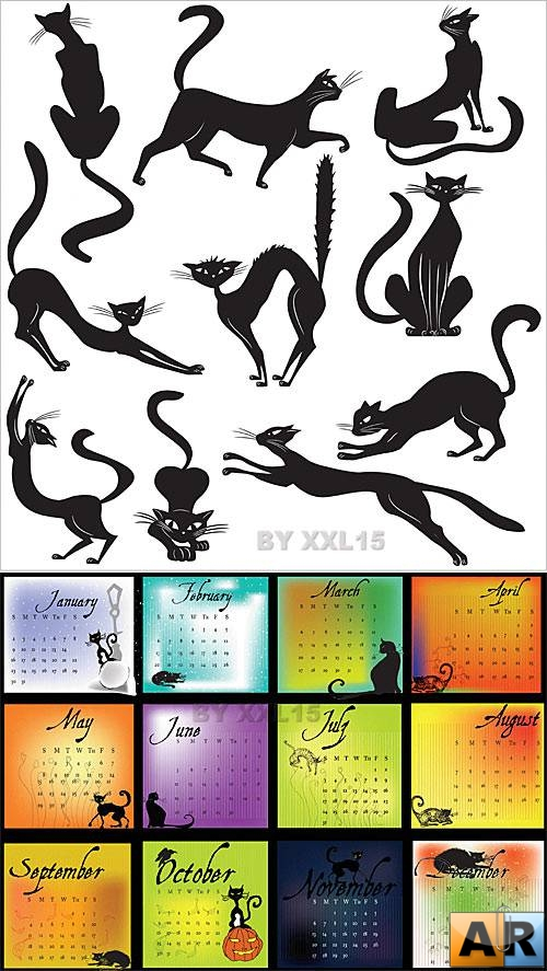 Black Cats Set & Calendar