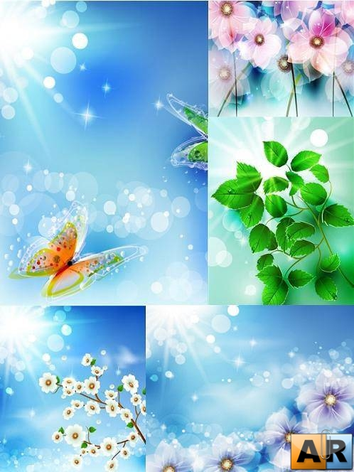Flowers and Butterfly - Vector Stock