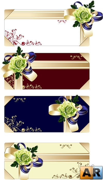 Gift cards, leaves, butterfly knot vector