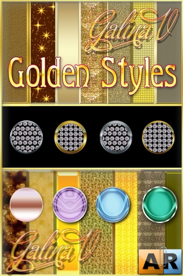 191 Golden Styles for Photoshop / Золотые стили для Photoshop