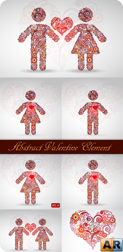 Abstract Valentine Elements - Stock Vectors