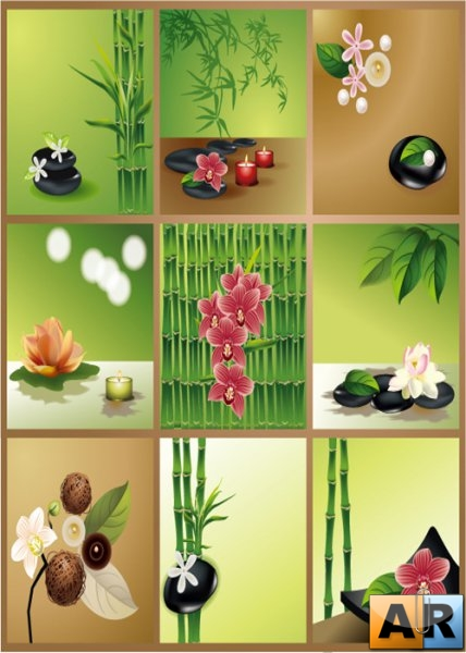 Flowering plants bamboo background