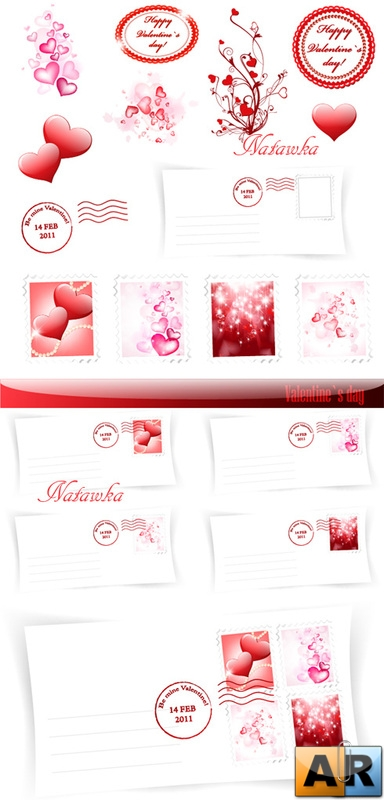 Valentine`s Day Envelope - Stock Vectors