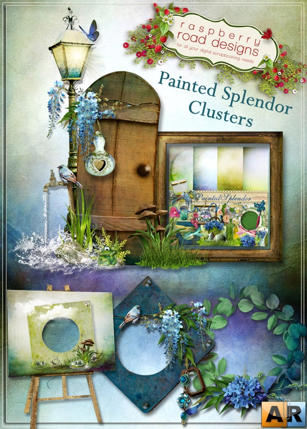 4 Композиции в png от Raspberry Road Designs - Painted Splendor Clusters
