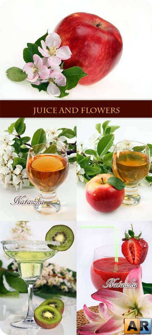Juice, fruit and flowers - Stock Photo