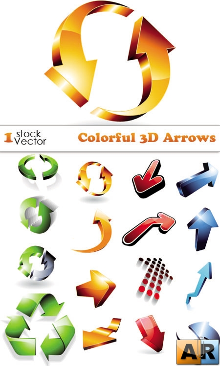 Colorful 3D Arrows Vector