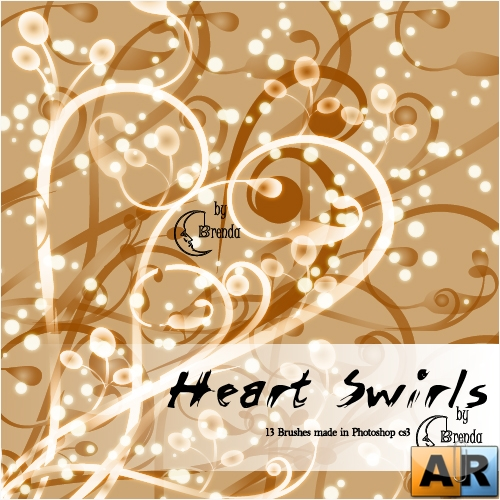 Кисти для Photoshop - Heart Swirls Brushes by Brenda