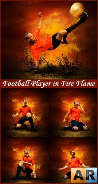 Football Player in Fire Flame - Stock Photos