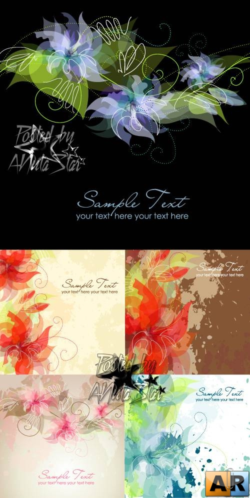 Ink flowers vector