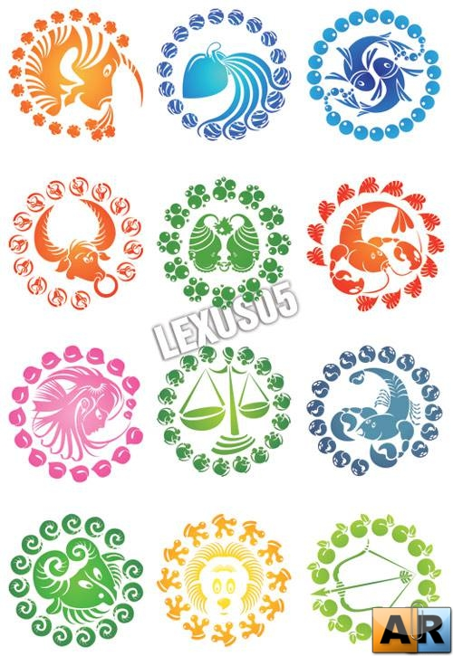 Multicolored Zodiac Signs