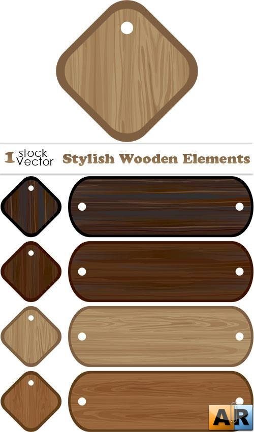 Stylish Wooden Elements Vector
