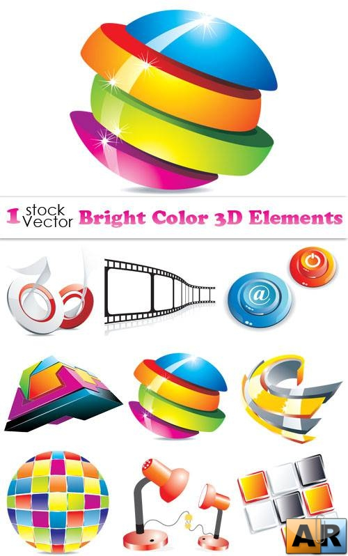 Bright Color 3D Elements Vector