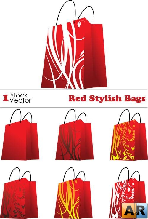 Red Stylish Bags Vector