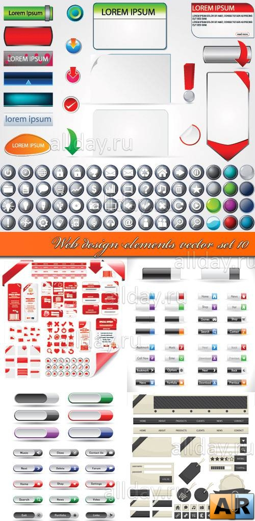Web design elements vector set 10