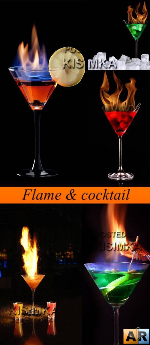 Stock Photo: Flame & cocktail