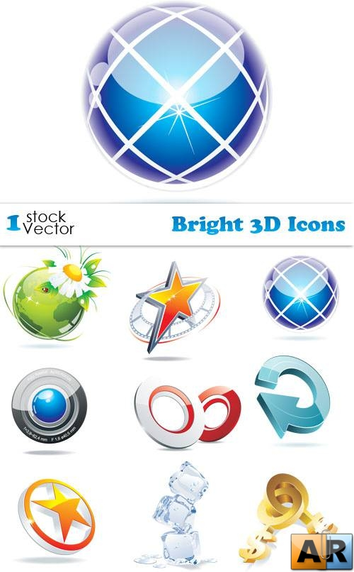 Bright 3D Icons Vector