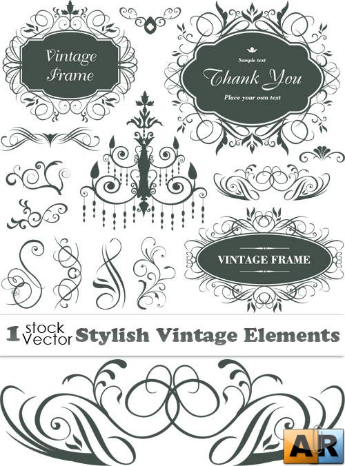 Stylish Vintage Elements Vector
