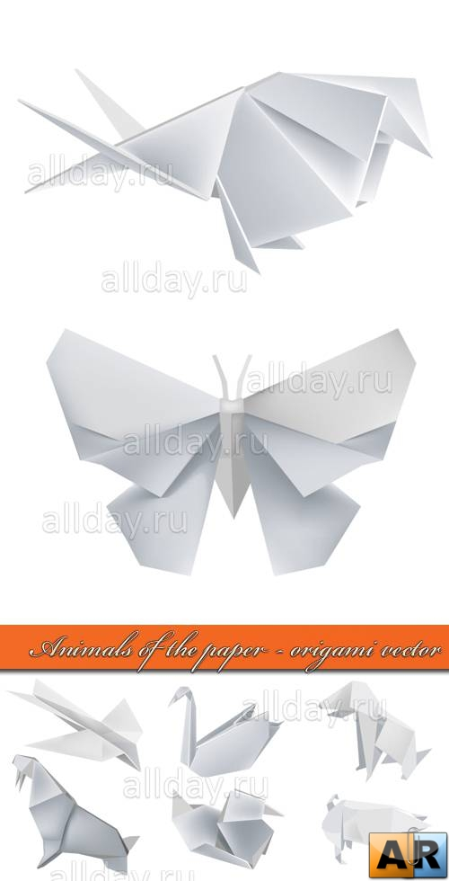 Animals of the paper - origami vector