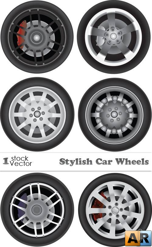 Stylish Car Wheels Vector