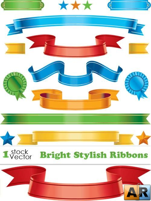 Bright Stylish Ribbons Vector