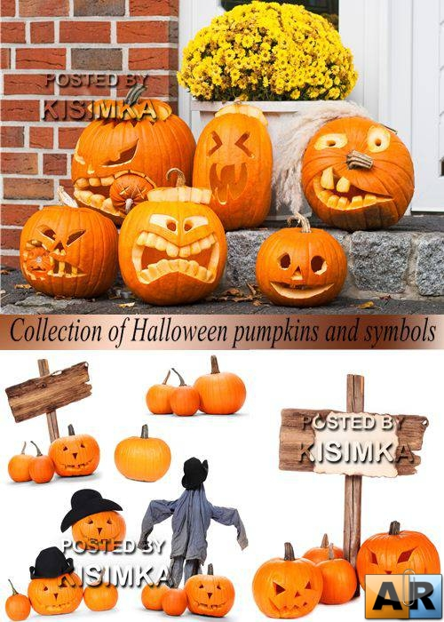 Stock Photo: Collection of Halloween pumpkins and symbols