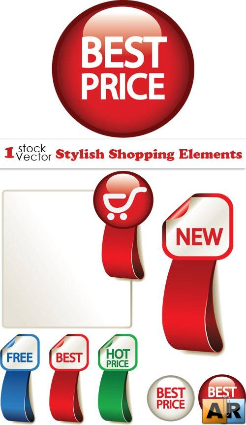 Stylish Shopping Elements Vector