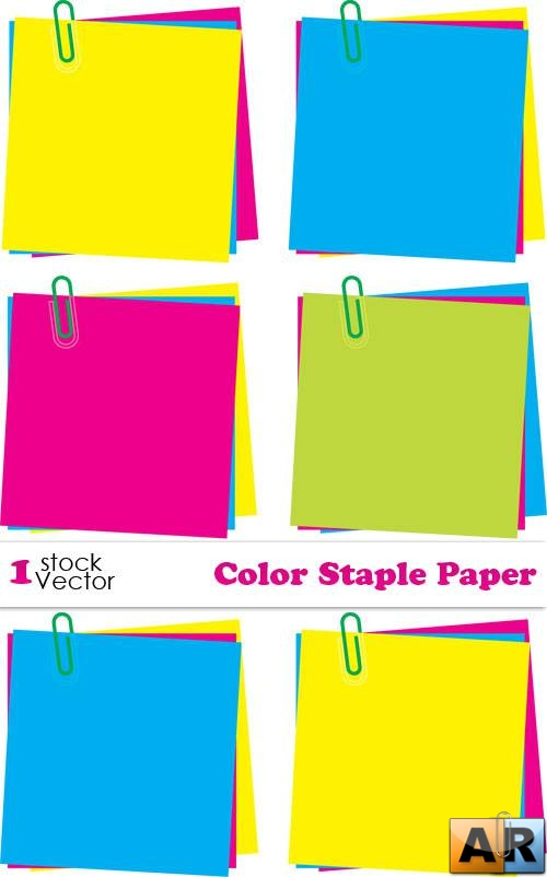 Color Staple Paper Vector