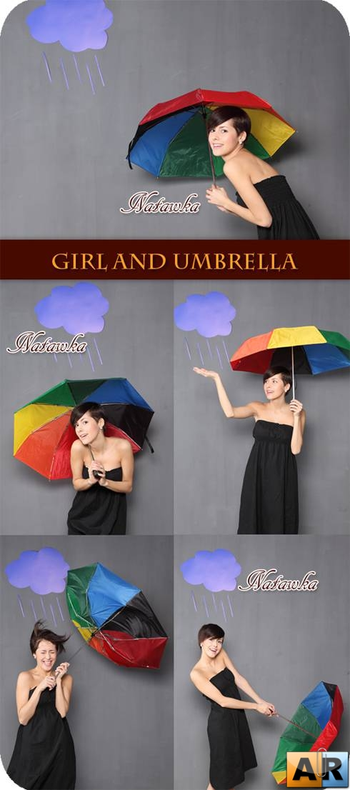Autumn - girl and umbrella photo