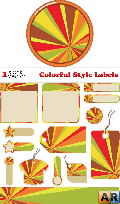 Colorful Style Labels Vector